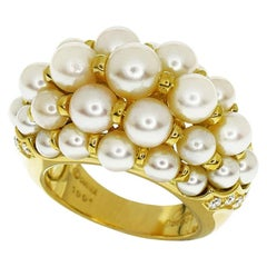 Cartier Diamond 18 Karat Yellow Gold Andromaque Pearl Ring