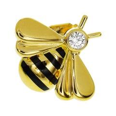 Cartier Diamond 18 Karat Yellow Gold Bee Pin Brooch