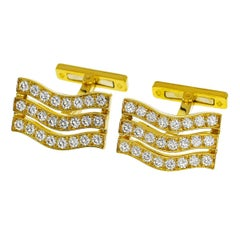 Cartier Diamond 18 Karat Yellow Gold Cufflinks