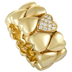 Cartier Diamond 18 Karat Yellow Gold Heart Band Ring
