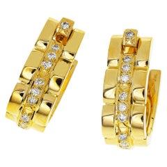 Cartier Diamond 18 Karat Yellow Gold Maillon Panthere Cufflinks