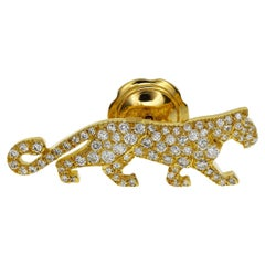 Cartier Diamond 18 Karat Yellow Gold Panthere Pin Brooch