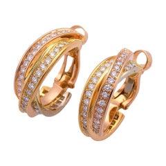 Cartier Diamond 18 Karat Yellow Gold Pink Gold White Gold Trinity Studs Earrings