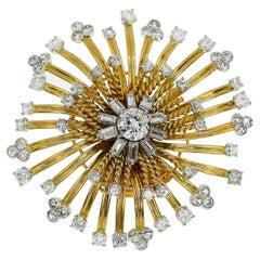 Cartier Diamond 18 Karat Yellow Gold Platinum Sunburst Clip Brooch