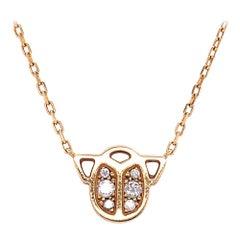 Cartier Diamond 18 Karat Yellow Gold Scarab Beetle Pendant Necklace