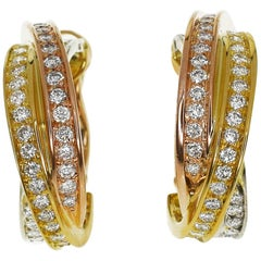 Cartier Diamond 18 Karat Yellow Pink White Gold Trinity Studs Earrings