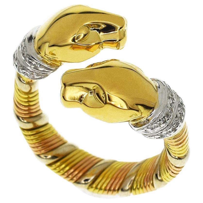Cartier Diamond 18 Karat Yellow White Pink Gold Cougar Panthere Ring US 4