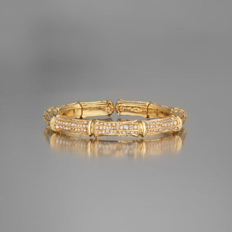 Round Cut Cartier Diamond 18k Gold Bamboo Vintage Cuff Bracelet For Sale