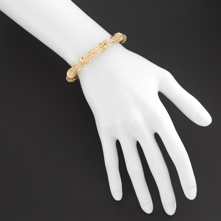 Cartier Diamond 18k Gold Bamboo Vintage Cuff Bracelet In Excellent Condition For Sale In Dallas, TX