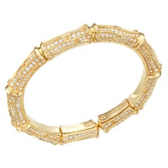 Cartier Diamond 18k Gold Bamboo Vintage Cuff Bracelet