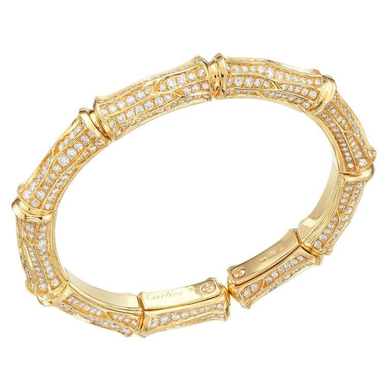 Cartier Diamond 18k Gold Bamboo Vintage Cuff Bracelet For Sale