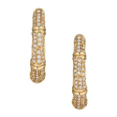 Cartier Diamond 18k Gold Bamboo Vintage Hoop Earrings