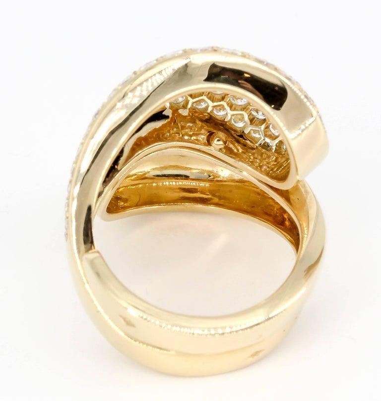 Round Cut Cartier Diamond 18 Karat Gold Yin Yang Ring For Sale