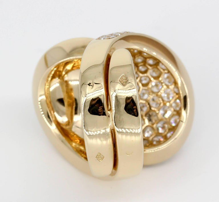 Cartier Diamond 18 Karat Gold Yin Yang Ring In Excellent Condition For Sale In New York, NY
