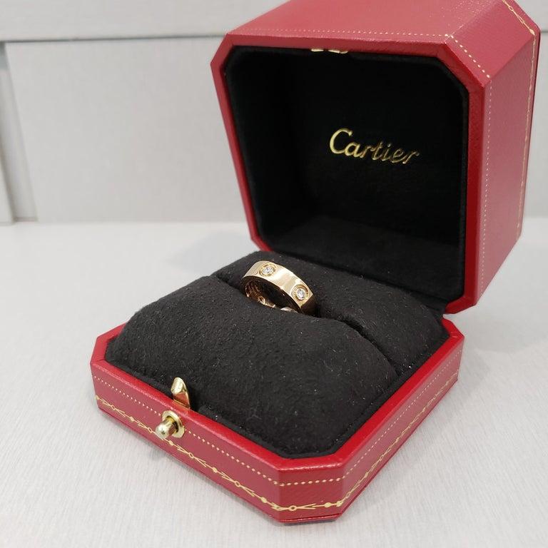 Cartier Diamond 18 Karat Rose Gold Love Ring For Sale 5