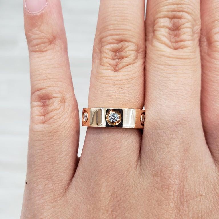 Cartier Diamond 18 Karat Rose Gold Love Ring For Sale 7
