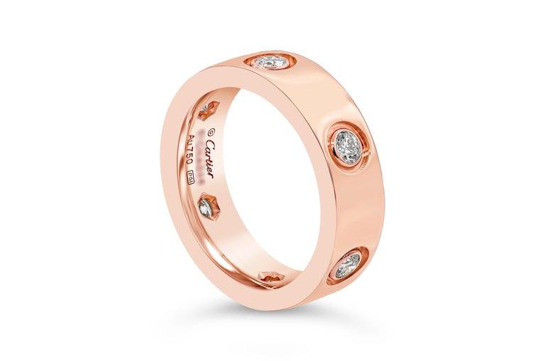 Round Cut Cartier Diamond 18 Karat Rose Gold Love Ring For Sale