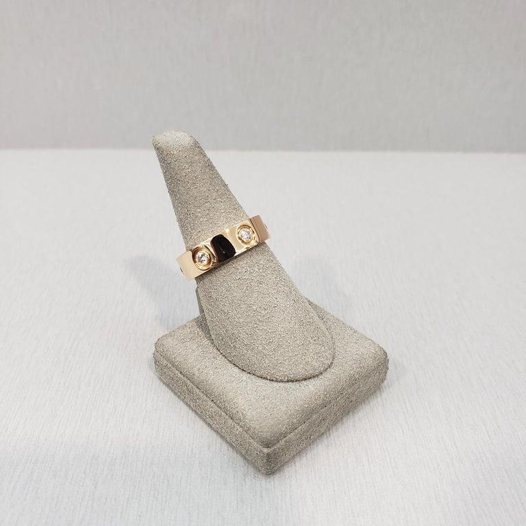 Women's Cartier Diamond 18 Karat Rose Gold Love Ring For Sale