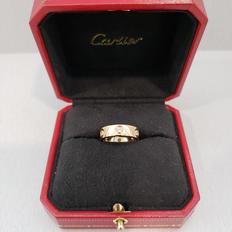 Cartier Diamond 18 Karat Rose Gold Love Ring For Sale 2