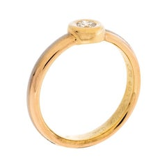 Cartier Diamond 18K Tri-Color Gold Band Ring Size 54