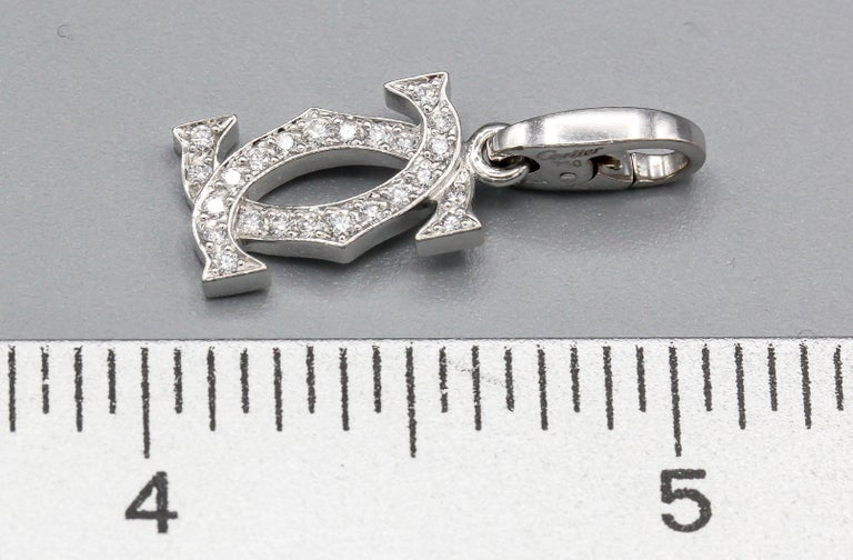 Cartier Diamond 18 Karat White Gold Double C-Logo Charm In Good Condition In New York, NY