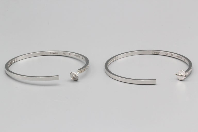 Contemporary Cartier Diamond 18 Karat White Gold Large Hoop Earrings For Sale
