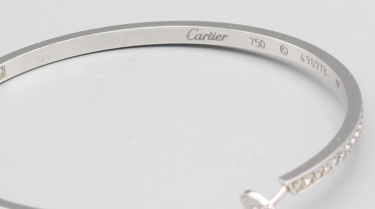 Cartier Diamond 18 Karat White Gold Large Hoop Earrings In Good Condition For Sale In New York, NY
