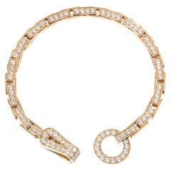 Cartier Diamond Agrafe 18 Karat Yellow Gold Link Bracelet