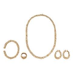 Cartier Diamond and 18 Karat Gold Bamboo Suite