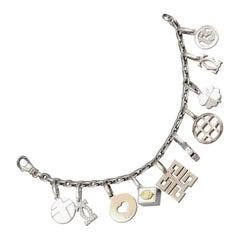 Cartier Diamond and 18 Karat White Gold Charm Bracelet