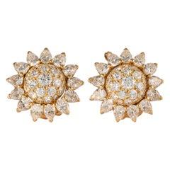 Cartier Diamond and 18 Karat Yellow Gold Sun Flower Motif Earrings 'Vintage'