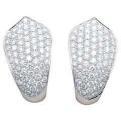 Cartier Diamond and 18 Karat White Gold Hoop Earrings