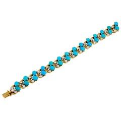 Cartier Diamond and Cabochon Turquoise Bracelet