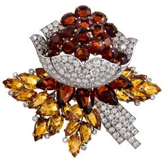 Cartier Diamond Citrine Platinum Flower Head Brooch