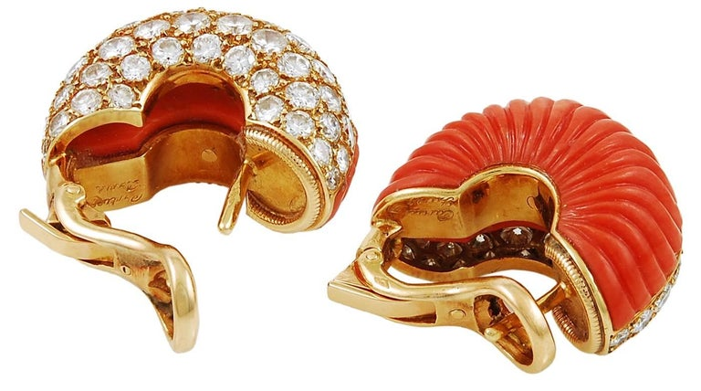 Cartier Diamond and Coral Ear Clips and Ring In Good Condition For Sale In New York, NY