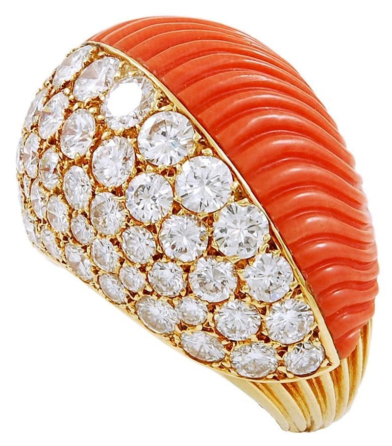 Women's Cartier Diamond and Coral Ear Clips and Ring For Sale
