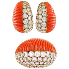 Cartier Diamond and Coral Ear Clips and Ring
