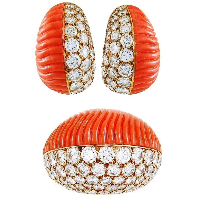 Cartier Diamond and Coral Ear Clips and Ring For Sale