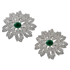 Cartier Diamond and Emerald Double Clips