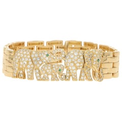 Cartier Diamond and Emerald Elephant Maillon Panthère Bracelet in Yellow Gold