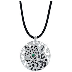 Cartier Diamond and Enamel Panther Openwork Disc Pendant on Black Cord Necklace