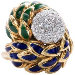 Cartier Diamond and Enamel Ring