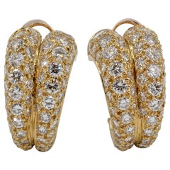 Cartier Diamond and Gold Double Hoop Earrings