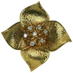 Cartier Diamond and Gold Pinwheel Brooch