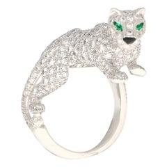 Cartier Diamond and Green Garnet Walking Panther Ring Set in 18k White Gold