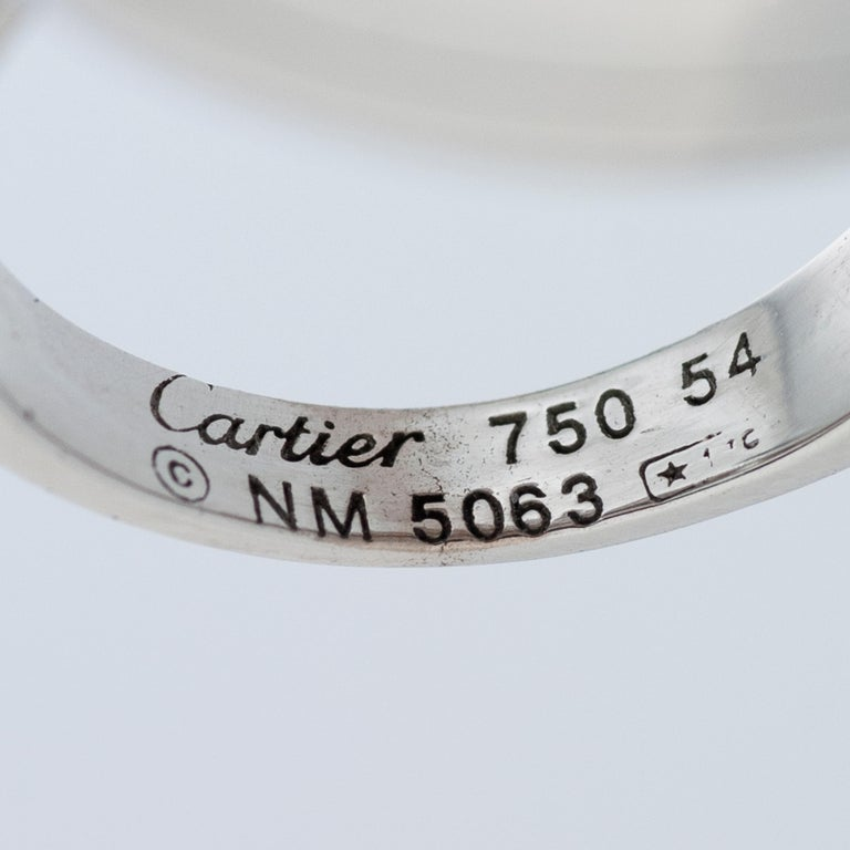 Women's or Men's Cartier Diamond and Mother of Pearl Pasha Ring in 18k White Gold For Sale