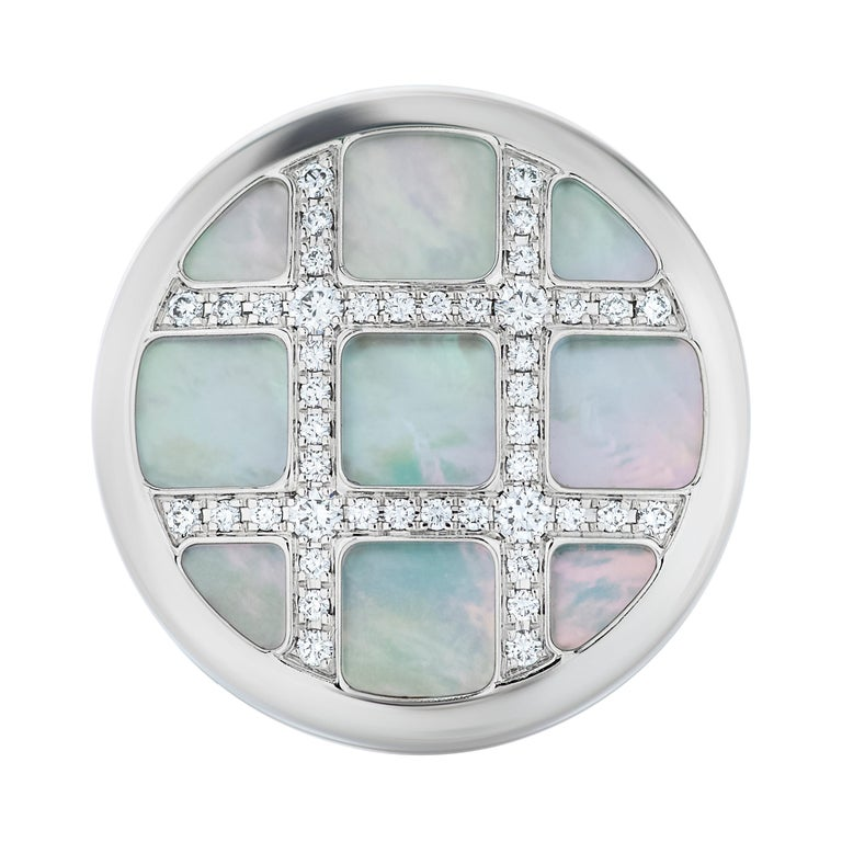 Cartier Diamond and Mother of Pearl Pasha Ring in 18k White Gold For Sale