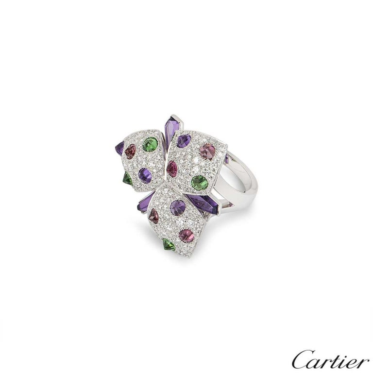 Cartier Diamond and Multi-Gem Caresse d'Orchidées Ring In Excellent Condition For Sale In London, GB