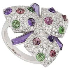 Cartier Diamond and Multi-Gem Caresse d'Orchidées Ring