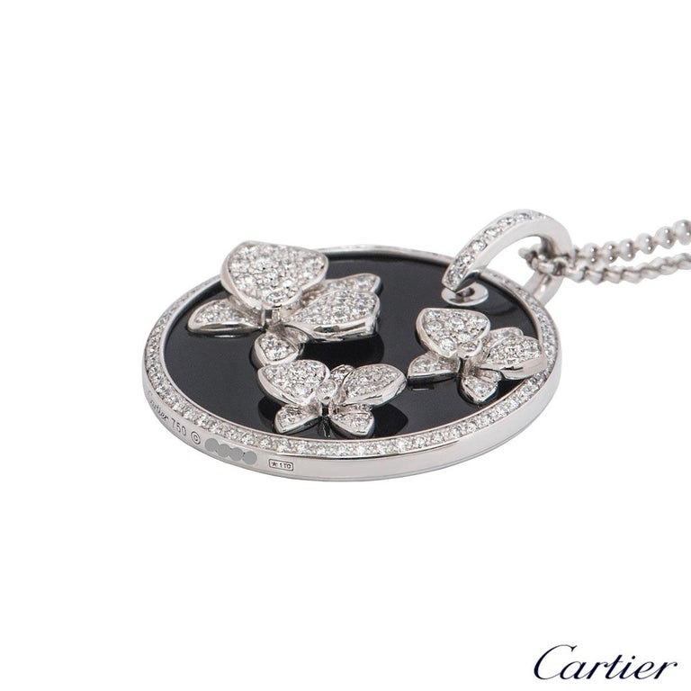 Cartier Diamond and Onyx Caresse D'Orchidees Pendant In Excellent Condition For Sale In London, GB